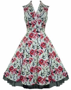 Amazon.com: 50's Vintage Retro Floral Collar Summer Dress: Clothing