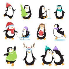 Cute cartoon penguins. Winter holidays vector animals set векторная иллюстрация