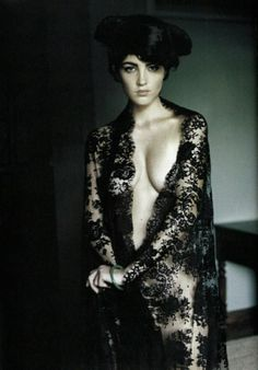 Black lace robe