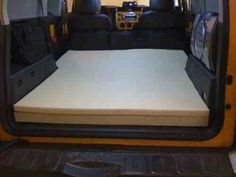 Toyota FJ cruiser simple memory foam cutout = mobile hotel room :-)