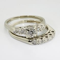 Vintage Wedding Rings | 14K White Gold Diamond Vintage Wedding Ring Set |  Online Pawn Shop