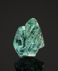 Twinned blue-green Phosphophyllite crystals - Bolivia