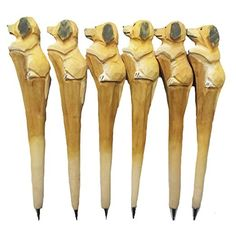 MoralBelief Creative Hand Carved Dog Wooden Cartoon Animal Art Neutral Pen B...