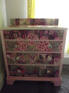 my finished chest of decoupaged drawers
