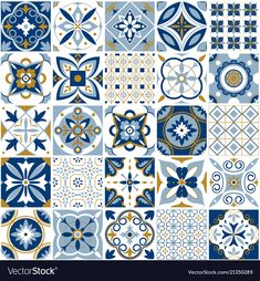 Decor tile texture print mosaic oriental pattern with blue ornament arabesque. Traditional arabic and indian pottery tiling seamless patterns fabric wall interior cloth vector set blue Motif Oriental, Oriental Pattern, Moroccan Pattern, Moroccan Tiles, Moroccan Decor, Tiles Texture, Motif Floral, Tile Patterns, Wall Murals