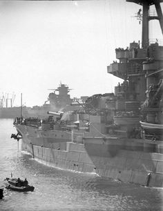 The battleship USS New York in Casablanca,1943.In the distance you see the outlines of the damaged battleship Jean Bart