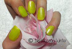 #Nageldesign # Sommerfarben #neon gelb # grün glitzer #Nailart #Gelnägel --- www.nageldesign-winter.de