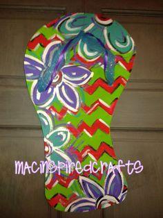 Chevron Flip Flop Door Hanger Or Wall Decor by MACInspiredCrafts, $20.00