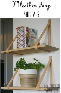 Tired of plain, old shelves? Add a touch of Danish Modern with these easy DIY leather strap shelves! Adding a shelf to an empty wall seems simple, and if your d…