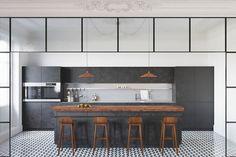 cuisine-avec-verriere-interieure-cuisine-ilot-carelage-tabourets-bois