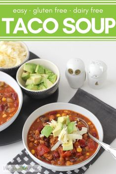 This tried and true recipe for easy Taco Soup makes enough to serve a hungry crowd plus have leftovers for later Healthy Taco Soup, Healthy Tacos, Vegetarian Soups, Easy Soup Recipes, Lunch Recipes, Healthy Recipes, Chowder Recipes, Healthy Foods, Healthy Eating