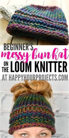 Good Totally Free loom knitting for beginners Strategies Beginners Messy Bun Hat Using the Loom Knitter at happyhourprojects… Loom Knitting For Beginners, Round Loom Knitting, Loom Knitting Stitches, Knifty Knitter, Loom Knitting Projects, Free Knitting, Knitting Tutorials, Knitting Machine, Sock Knitting