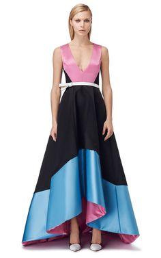 Doubleface Satin V-Neck Gown by Prabal Gurung for Preorder on Moda Operandi