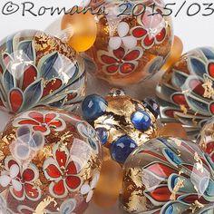 "Artisan Lampwork Beads by Romana - ""Triton's Gold"" #ArtisanLampworkBeads"