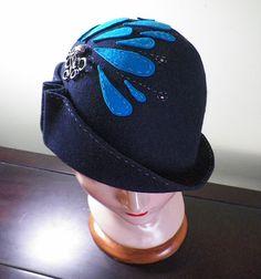 Navy Wool Hand-Stitched Squid Splash Cloche Style Hat with Swarovski Crystals by Baubles & Whatnots, SOLD
