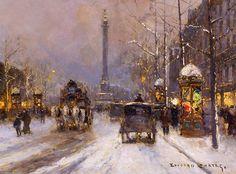 Place de laBastille by Edouard Cortes (1882-1969, France)