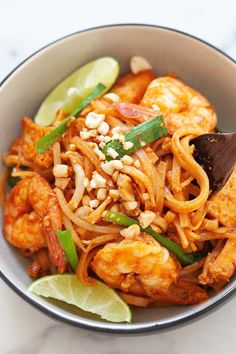 Pad Thai noodles with rice noodles, Pad Thai sauce, chicken, shrimp and tofu.