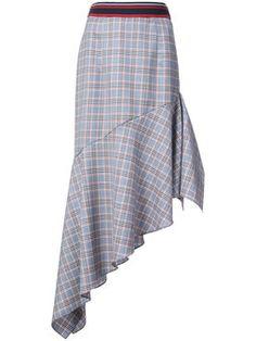 asymmetric check skirt