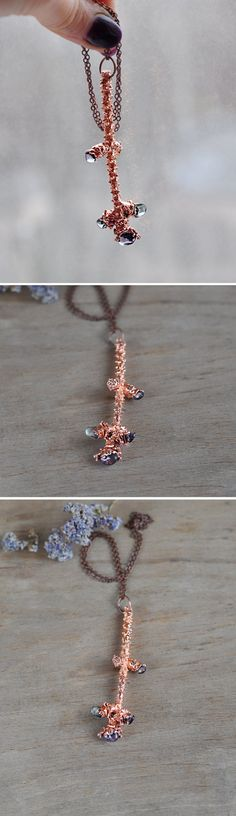 Fir Twig Necklace with fluorite stones Real Branch от ChechelArt