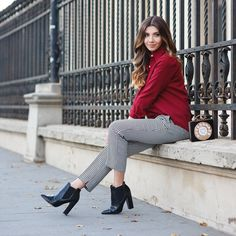 Office chic look with a burgundy shirt and checked pants today on my blog: http://themysteriousgirl.ro/2015/11/phone-clutch/