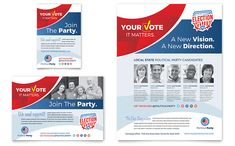 Create election campaign marketing materials that will Get Out the Vote! with designs by StockLayouts.com