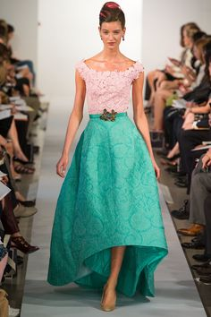 Oscar de la Renta Spring 2013: Kerry Washington has worn this dress on the red carpet before! I love the color block with the teal skirt and the embroidered lace blush pink top piece. Like the other dress I posted, it is feminine, flirty, and fun!