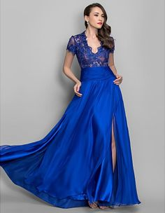 dresses new fashion 2014 sexy vestidos de fiesta casual brief dress short sleeve party gown royal blue lace long evening dress US $133.00