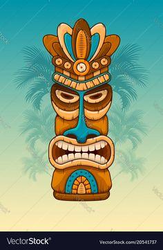 Wooden tiki mask vector image on VectorStock Tiki Tattoo, Arte Tribal, Tribal Art, Tiki Maske, Tiki Faces, Native American Totem, Tiki Bar Decor, Tiki Totem, Theme Tattoo
