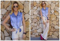 ♥ LOOK OF THE DAY 16-10-2012 ♥  ♥ Denim Spiked Tee  ♥ Oxford Calado Crudo  ♥ Maui Sandals