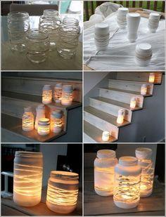 Alte Gläser mit Paketschnur umwickeln - weiß ansprühen - Schnur abwickeln - Kerze rein