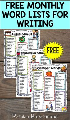 August Word List Start of your school year with 3 Free Monthly Word Lists awesome for writing poetry and stories in your classroom and centers! They are theme-based. Paragraph Writing, Narrative Writing, Informational Writing, Persuasive Writing, Essay Writer, Kindergarten Writing, Teaching Writing, Teaching Ideas, Teaching Tools