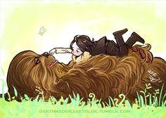Aww. Chewie and young Ben. bensolo #kyloren #starwars