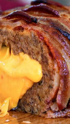 Bacon Double Cheeseburger Stuffed Meatloaf ~ A meatloaf bursting with steak flavors, but stuffing it with cheese and covering it in the delicious brown sugar ketchup glaze and layered thick cut bacon put this recipe over the top. I Love Food, Good Food, Yummy Food, Bacon Recipes, Cooking Recipes, Recipes With Thick Bacon, Bacon Meals, Meatball Recipes, Dip Recipes