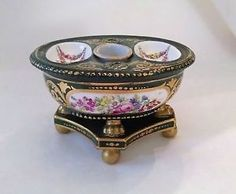 Antique-Porcelain-Sevres-Green-Floral-Inkwell-Footed-France-Hand-Painted-1700s