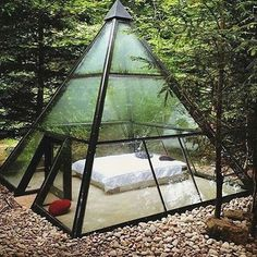 Glamping tent in form of a glass pyramide in France Exterior Design, Interior And Exterior, Room Interior, Outdoor Spaces, Outdoor Living, Outdoor Bedroom, Outdoor Gear, Future House, Gazebo
