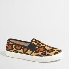 Factory leopard calf hair slip-on sneakers : Sneakers | J.Crew Factory