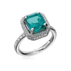 Michael B. Fine Jewelry, Trois Collection, 18K White Gold Emerald Ring   Michael B. Fine Jewelry   Michael C. Fina ($20,625) found on Polyvore