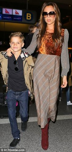 Brooklyn Beckham shows off braces as Victoria takes the brood to London... leaving David behind in LA | Mail Online