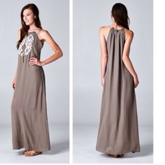 """Gisele embroidered maxi dress Small 54"""" medium 55"""". Price firm. This dress is lined Dresses Maxi"""