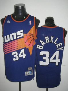 6422cb46346 Mitchell  amp  Ness Suns  34 Charles Barkley Embroidered Blue Throwback NBA  Jersey! Only