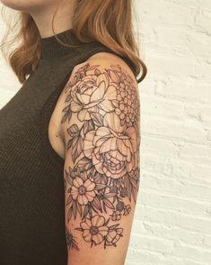 Assorted florals by Black Iris Tattoo co-owner John - Brooklyn NY tattoos sleeve - tattoos sleeve wo Iris Tattoo, Tattoo You, Tattoo Floral, Floral Sleeve Tattoos, Ocean Sleeve Tattoos, Quarter Sleeve Tattoos, Botanical Tattoo, Inspiration Tattoos, Tattoo Ideas