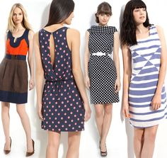 left to right: Milly colorblock dress, Juicy Couture dot dress, Tahari by Arthur Levine sheath dress, See by Chloé stripe dress