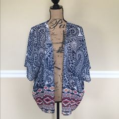 Blue & White Kimono This is a gorgeous kimono with blue, white , red & orange colors. It is super lightweight, sheer & can fit anyone who's a medium - 2x (jrs) nicely. (This whole fit anyone who's a 2x from wet seal, forever21 etc..) in excellent condition. Tops Blouses