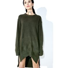 Delphi Zipped Sweater (90 CAD) ❤ liked on Polyvore featuring tops, sweaters, slouchy sweater, long slouchy sweater, green sweater, long sweaters and zip sweater