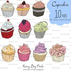 Cupcake Drawn Clipart by RainyDayPixels on Etsy