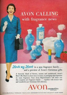 Here's my Heart was my favorite fragrance. Avon calling ~ door to door back in the day. My mom's Avon lady used to come every couple of weeks with all kinds of samples:) 1950s Makeup, Vintage Makeup, Vintage Avon, Vintage Beauty, Etiquette Vintage, Old Advertisements, Retro Ads, Retro Advertising, New Fragrances
