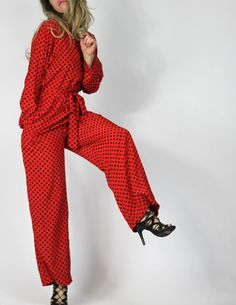 Cat's Pajamas Silky Vintage 70s Jumpsuit Red by AutoluxeVintage
