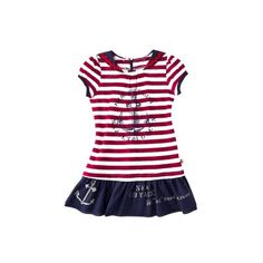Harajuku Mini for Target Toddler Girls Short-Sleeve Stripe Dress Red ($13) ❤ liked on Polyvore