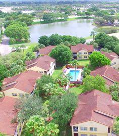 Lakes at Mission Bay, Boca Raton Florida and Courtside Villas Courtyard drone photograph.