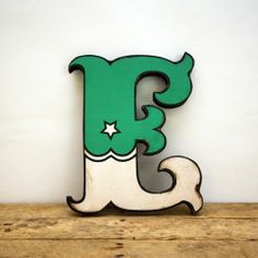 Retro Vintage Style Green and White Carnival Circus Style Wood Letter E Handmade Painted Letters, Hand Painted Signs, Wood Letters, Letters And Numbers, Vintage Circus, Retro Vintage, Vintage Style, Bold Typography, Light Letters